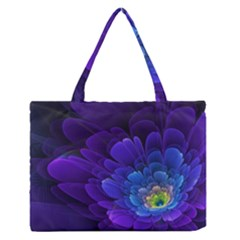 Purple Flower Fractal  Zipper Medium Tote Bag by amphoto