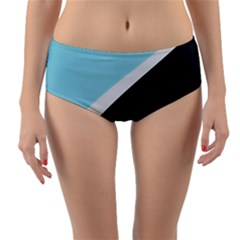 Lines Wavy Strip  Reversible Mid Waist Bikini Bottoms by amphoto