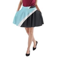 Lines Wavy Strip  A Line Pocket Skirt by amphoto