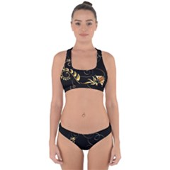 Patterns Butterfly Black Background  Cross Back Hipster Bikini Set