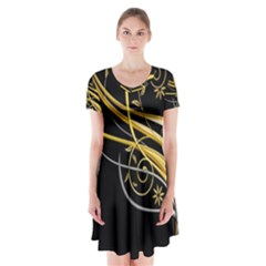 Patterns Yellow Background  Short Sleeve V Neck Flare Dress by amphoto
