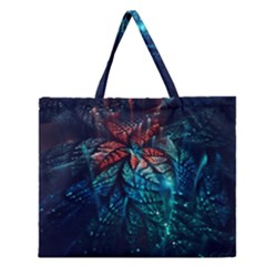 Fractal Flower Shiny  Zipper Large Tote Bag by amphoto