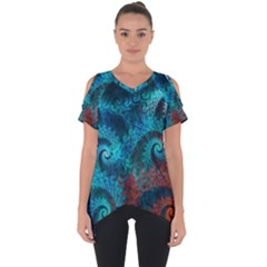 Abstract Patterns Spiral  Cut Out Side Drop Tee