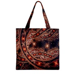 Fractal Patterns Abstract  Zipper Grocery Tote Bag by amphoto