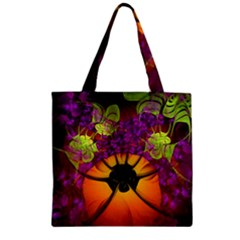 Patterns Lines Purple  Zipper Grocery Tote Bag by amphoto