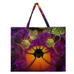 Patterns Lines Purple  Zipper Large Tote Bag by amphoto