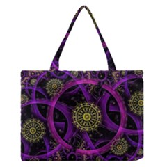 Fractal Neon Rings  Zipper Medium Tote Bag by amphoto
