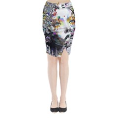 Abstraction Painting Girl  Midi Wrap Pencil Skirt