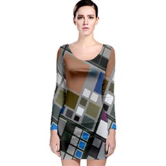 Abstract Composition Long Sleeve Bodycon Dress