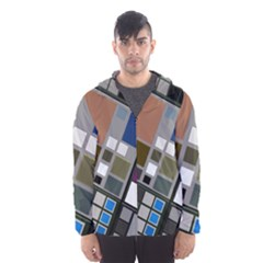 Abstract Composition Hooded Wind Breaker (men)