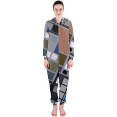 Abstract Composition Hooded Jumpsuit (ladies)