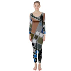 Abstract Composition Long Sleeve Catsuit