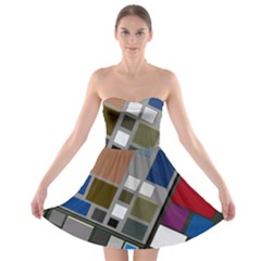 Abstract Composition Strapless Bra Top Dress