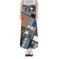 Abstract Composition Full Length Maxi Skirt