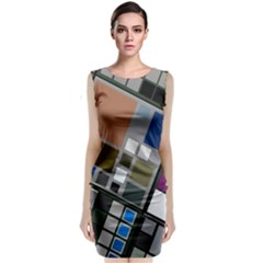 Abstract Composition Classic Sleeveless Midi Dress