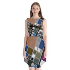 Abstract Composition Sleeveless Chiffon Dress