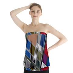 Abstract Composition Strapless Top