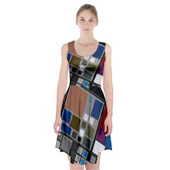 Abstract Composition Racerback Midi Dress