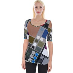 Abstract Composition Wide Neckline Tee