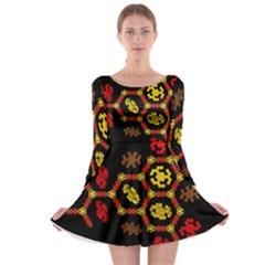 Algorithmic Drawings Long Sleeve Skater Dress