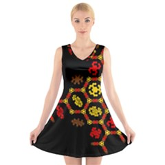 Algorithmic Drawings V Neck Sleeveless Skater Dress