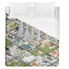 Simple Map Of The City Duvet Cover (queen Size) by Nexatart