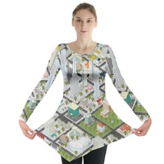 Simple Map Of The City Long Sleeve Tunic