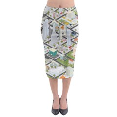 Simple Map Of The City Midi Pencil Skirt