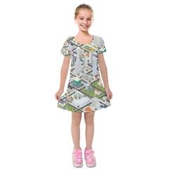 Simple Map Of The City Kids  Short Sleeve Velvet Dress