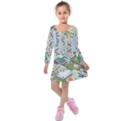 Simple Map Of The City Kids  Long Sleeve Velvet Dress