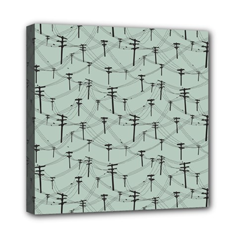 Telephone Lines Repeating Pattern Mini Canvas 8  X 8