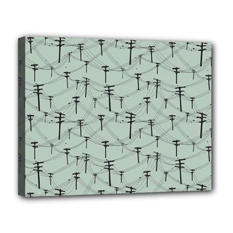 Telephone Lines Repeating Pattern Canvas 14  X 11  by Nexatart