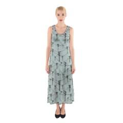Telephone Lines Repeating Pattern Sleeveless Maxi Dress