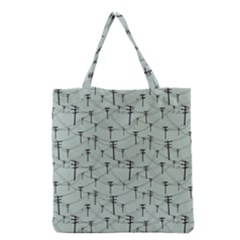 Telephone Lines Repeating Pattern Grocery Tote Bag