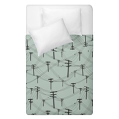 Telephone Lines Repeating Pattern Duvet Cover Double Side (single Size) by Nexatart