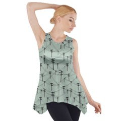 Telephone Lines Repeating Pattern Side Drop Tank Tunic