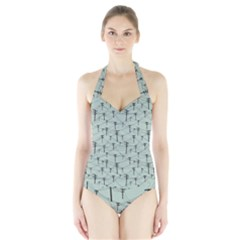 Telephone Lines Repeating Pattern Halter Swimsuit