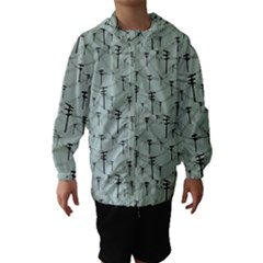 Telephone Lines Repeating Pattern Hooded Wind Breaker (kids)