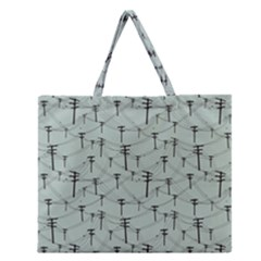 Telephone Lines Repeating Pattern Zipper Large Tote Bag by Nexatart