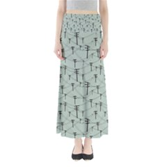 Telephone Lines Repeating Pattern Full Length Maxi Skirt