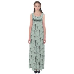 Telephone Lines Repeating Pattern Empire Waist Maxi Dress