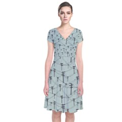 Telephone Lines Repeating Pattern Short Sleeve Front Wrap Dress