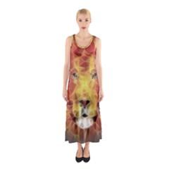 Fractal Lion Sleeveless Maxi Dress