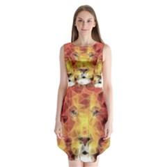 Fractal Lion Sleeveless Chiffon Dress