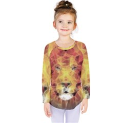 Fractal Lion Kids  Long Sleeve Tee