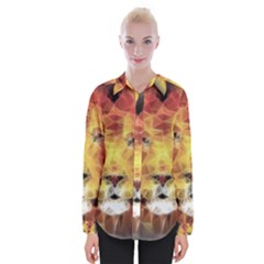 Fractal Lion Womens Long Sleeve Shirt