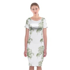 Trees Tile Horizonal Classic Short Sleeve Midi Dress