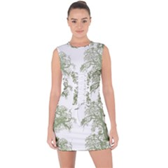 Trees Tile Horizonal Lace Up Front Bodycon Dress