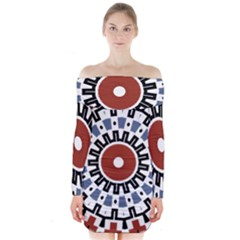 Mandala Art Ornament Pattern Long Sleeve Off Shoulder Dress