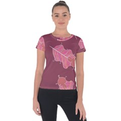 Plumelet Pen Ethnic Elegant Hippie Short Sleeve Sports Top